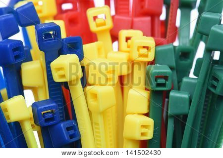 Group of colored cable ties close up