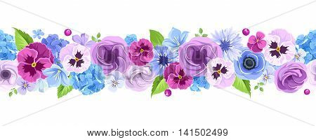 Vector horizontal seamless background with blue and purple pansies, cornflowers, lisianthuses, bluebells and hydrangea flowers.