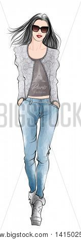 Stylish fashion model woman in jeans - vector illustration
