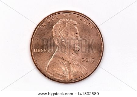 A one cent dollar coin, front face