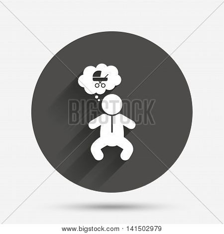 Baby infant think about buggy sign icon. Toddler boy in pajamas or crawlers body symbol. Circle flat button with shadow. Vector