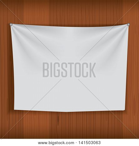 Background for poster mockup with realistic fabric curtain hang on wood wall. Unique and creative background idea for your design. vector