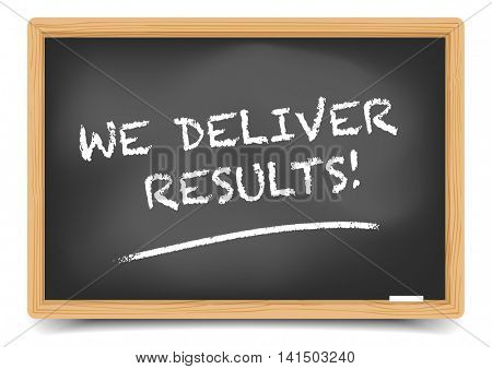detailed illustration of a blackboard with We Deliver Results text, eps10 vector, gradient mesh included
