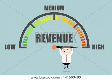 detailed illustration of a person hanging on a Revenue meter, eps10 vector