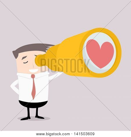 minimalistic illustration of a man holding a spyglass with heart symbol in front, finding love concept, eps10 vector