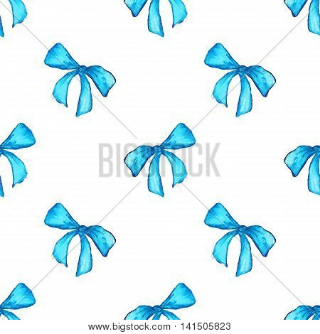 Watercolor blue cyan tape ribbon gift seamless pattern texture background