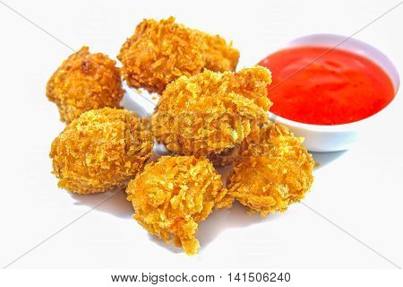 Fried chicken nuggets and sweet chili sauce/Fried chicken on white background