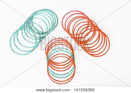 Colorful Indian bangles on a white background