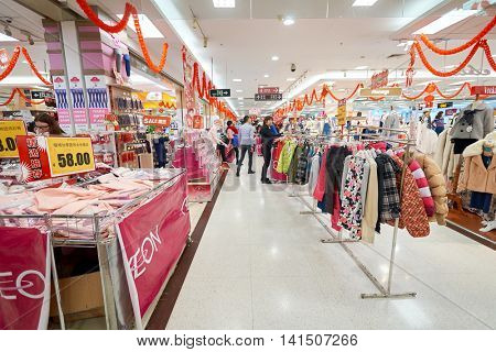 SHENZHEN, CHINA - FEBRUARY 05, 2016: inside of a store in Shenzhen. Shenzhen has excellent shopping choices and offers tourists great shopping opportunities.