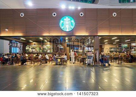 KUALA LUMPUR, MALAYSIA - CIRCA MAY, 2016:Starbucks in Kuala Lumpur. Starbucks Corporation is an American coffee company and coffeehouse chain.