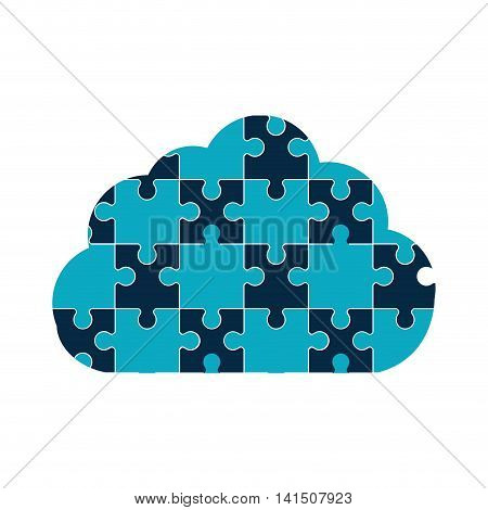 puzzle cloud jigsaw game figure icon. Isolated and flat illustration. Vector graphic