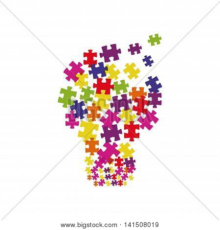 puzzle bulb jigsaw game figure icon. Isolated and flat illustration. Vector graphic