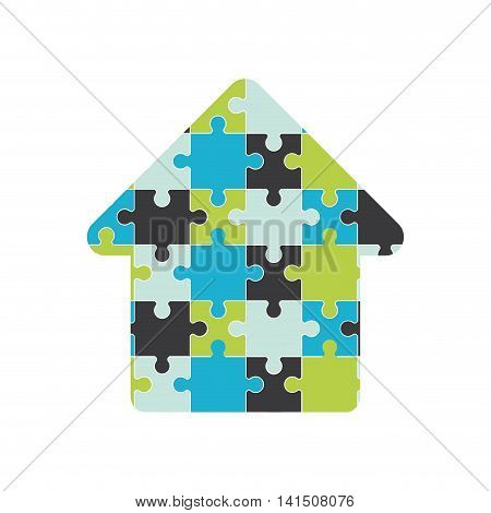 puzzle arrow jigsaw game figure icon. Isolated and flat illustration. Vector graphic
