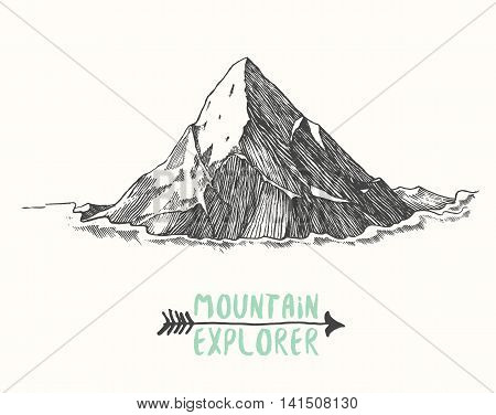 Sketch of a mountain, isolated, engraving style, hand drawn vector illustration