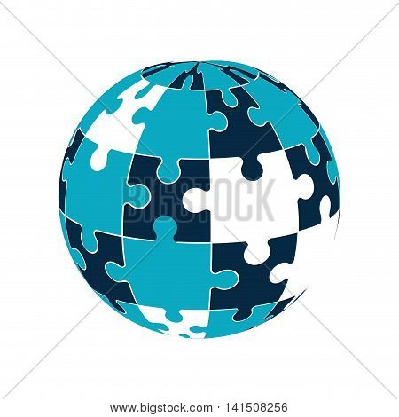puzzle sphere jigsaw game figure icon. Isolated and flat illustration. Vector graphic