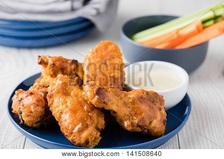 Buffalo Chicken Wings With Celery Carrot Sticks