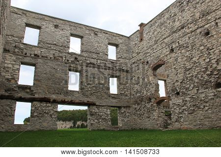 A three story ruins of a building in a ghost town in Michigan's upper peninsula