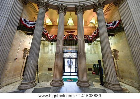 New York City - June 29, 2016: Interior of the Federal Hall on Wall Street. George Washington took the oath of office as first President and this site was home to the first Congress Supreme Court and Executive Branch offices.