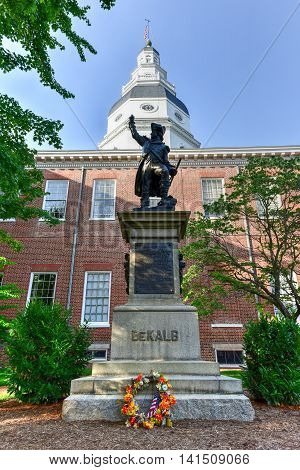 Annapolis, Maryland - June 26, 2016: Baron Johann DeKalb statue before the Maryland State Capital building in Annapolis Maryland on summer afternoon. It is the oldest state capitol in continuous legislative use dating to 1772.