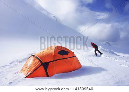 Alpinist in Berelskoye Camp, Belukha Mountain, Altai Republic, Russian Federation