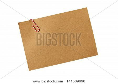 note paper on white background brown paper with red clip paper for note and memo.