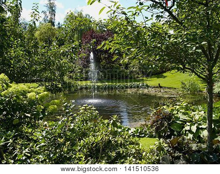 Ornamental pond water fountain image photo bigstock for Ornamental pond