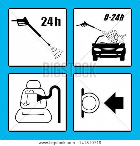 Set of car washing icons. Self service car wash instructions. Automatic car wash facilities.