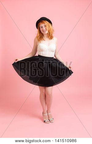 girl in a black skirt and white corset
