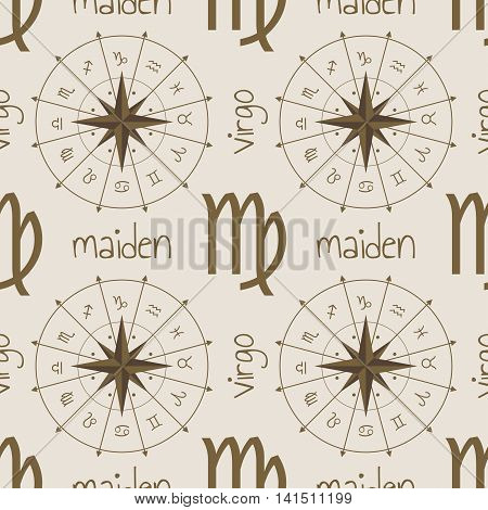 Astrology sign Maiden. Seamless background. Vector illustration