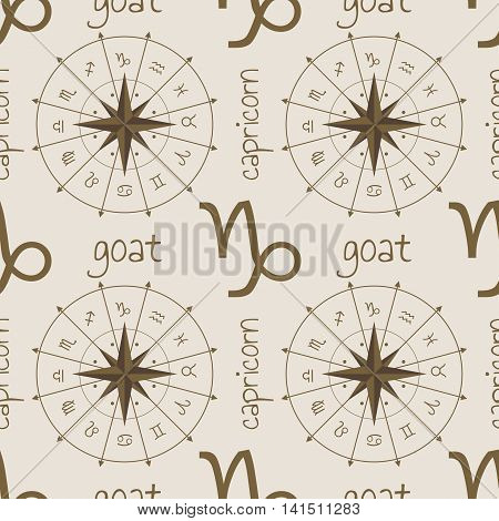 Astrology sign Goat. Seamless background. Vector illustration