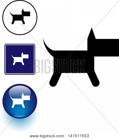 dog symbol sign and button