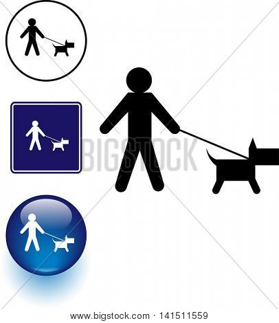 dog walk symbol sign and button