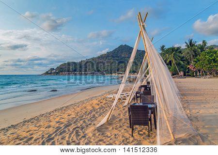 Gazebo In Tropical Rock Beach