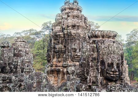 Stone Faces Sculpture, Angkor, Cambodia