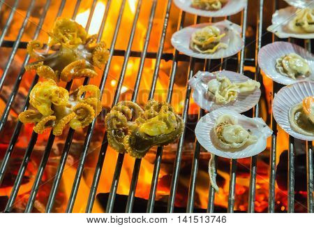 Fried Scallops On Grill.