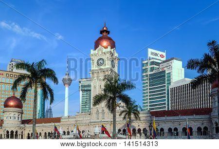 KUALA LUMPUR MALAYSIA - FEBRUARY 19 2015 - View of the historic city centre in Kuala Lumpur. Sultan Abdul Samad building Merdeka Square at Kuala Lumper Malaysia