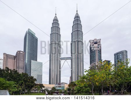 KUALA LUMPUR MALAYSIA - FEBRUARY 19 2015 - Petronas Twin Towert. This building (451.9m/88 floors) is the tallest twin buildings in the world.