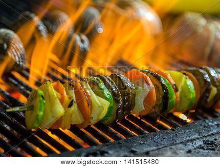 Fried Skewers Grill Vegetable.