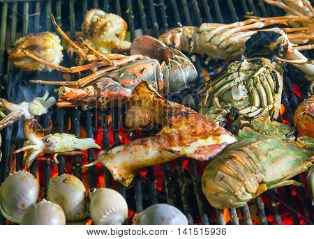 Assorted Delicious Grilled Seafood Barbecue