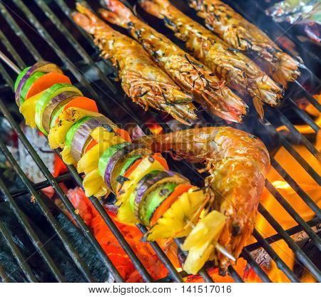 Grilled Shrimps Barbecue Grill Cooking Seafood.