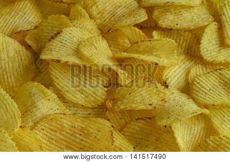 Background of potato chips fast foodBackground of potato chips fast and tasty food