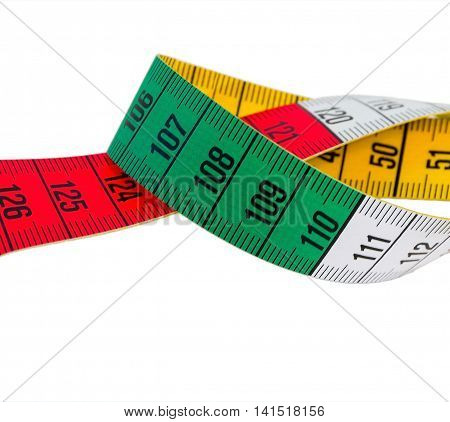 measuring tape green red yellow on white background isolated