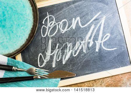 Bon Appetite On A Chalkboard