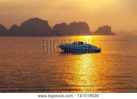Ha Long bay islands Halong mountains in South China Sea Vietnam. UNESCO World Heritage Site Asia. Indochina Discovery.