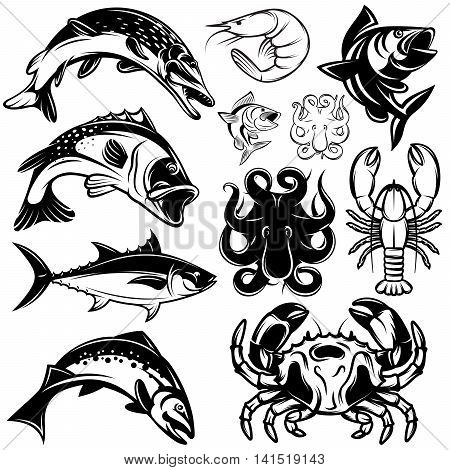 set of monochrome river freshwater and marine fish and shellfish