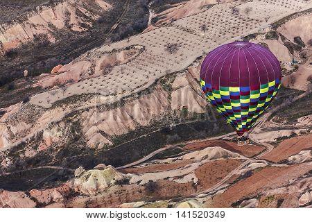 Hot Air Balloon Isflying On Cappadocia