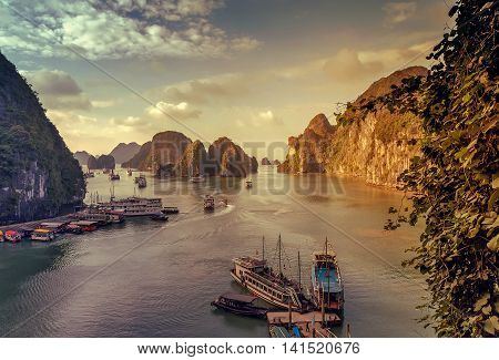 Junk Ha Long Bay Vietnam.