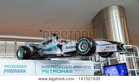 KUALA LUMPUR - FEBRUARY 19: The Mercedes GP as partners Petronas F1 Team at PETRONAS Malaysian Grand Prix in Petronas Towers on February 19 2015 in Kuala Lumpur Malaysia are the world's tallest twin tower. The Menara Berkembar Petronas Commercial offices