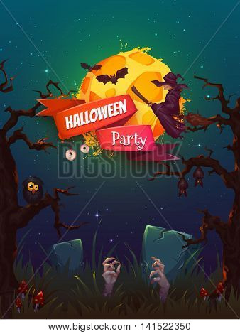 Halloween party poster with witch and moon. Vector illustration.