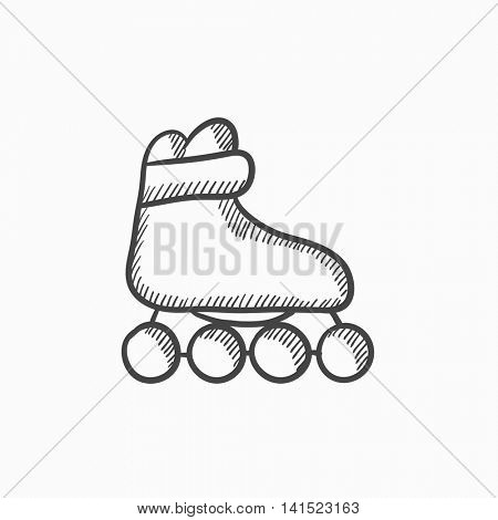 Roller skate vector sketch icon isolated on background. Hand drawn Roller skate icon. Roller skate sketch icon for infographic, website or app.